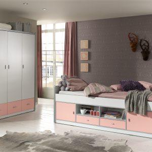 Set Mobila dormitor din pal, pentru copii 2 piese Bonny White