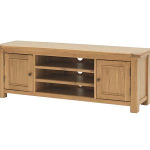 Comoda TV din lemn de stejar si furnir, cu 2 usi Breeze 120 Oak, l120xA43xH48,5 cm