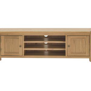 Comoda TV din lemn de stejar si furnir, cu 2 usi Breeze 160 Oak, l160xA43xH48,5 cm