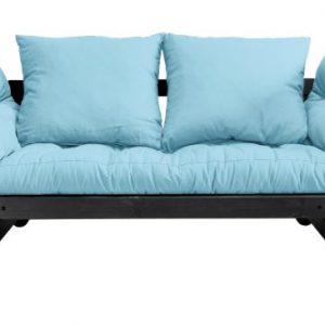 Canapea Extensibila 2 locuri, stofa si cadru lemn de pin, Beat Black, l162xA80xH75 cm
