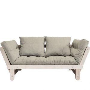 Canapea Extensibila 2 locuri, stofa si cadru lemn de pin, Beat Natural Linen, l162xA80xH75 cm