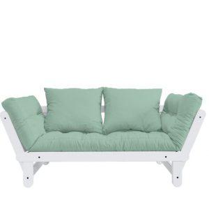 Canapea Extensibila 2 locuri, stofa si cadru lemn de pin, Beat White, l162xA80xH75 cm