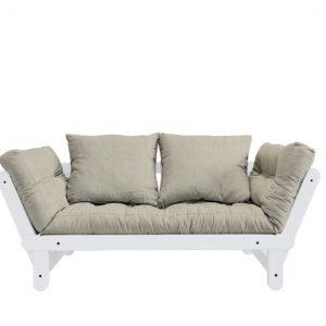 Canapea Extensibila 2 locuri, stofa si cadru lemn de pin, Beat White Linen, l162xA80xH75 cm