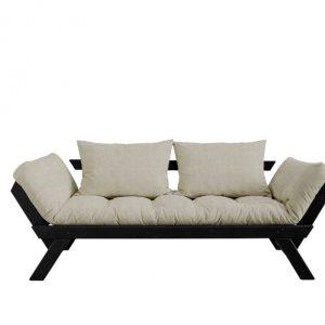 Canapea Extensibila 2 locuri, stofa si cadru lemn de pin, Bebop Black Linen, l180xA80xH75 cm
