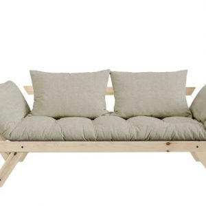 Canapea Extensibila 2 locuri, stofa si cadru lemn de pin, Bebop Natural Linen, l180xA80xH75 cm