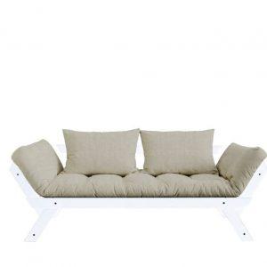 Canapea Extensibila 2 locuri, stofa si cadru lemn de pin, Bebop White Linen, l180xA80xH75 cm