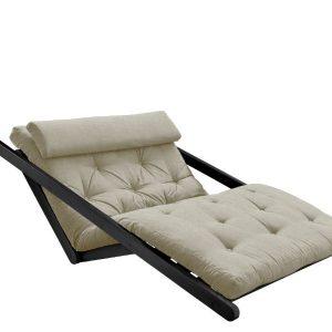 Canapea Extensibila 2 locuri, stofa si cadru lemn de pin, Figo Black Linen, l130xA185xH82 cm