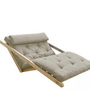 Canapea Extensibila 2 locuri, stofa si cadru lemn de pin, Figo Natural Linen, l130xA185xH82 cm