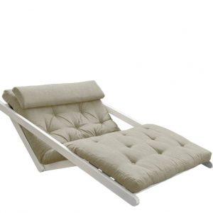Canapea Extensibila 2 locuri, stofa si cadru lemn de pin, Figo White Linen, l130xA185xH82 cm