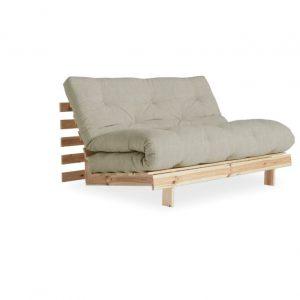 Canapea Extensibila 2 locuri, stofa si cadru lemn de pin, Roots 140 Raw Linen, l140xA108xH84 cm