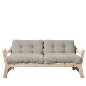 Canapea Extensibila 2 locuri, stofa si cadru lemn de pin, Step Natural Linen, l178xA75xH57 cm