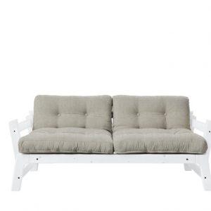 Canapea Extensibila 2 locuri, stofa si cadru lemn de pin, Step White Linen, l178xA75xH57 cm