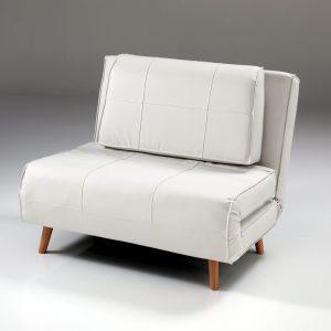 Fotoliu extensibil tapitat cu piele ecologica Shift White, l100xA85xH80 cm