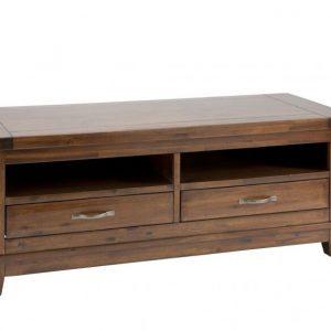 Comoda TV din lemn de salcam, cu 2 sertare Emerson Brown, l133xA55xH50 cm