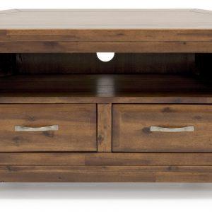 Comoda TV din lemn de salcam, cu 2 sertare Emerson Corner Brown, l102xA51xH56 cm