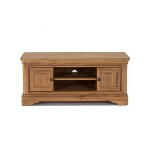 Comoda TV din lemn de stejar si furnir, cu 2 usi Carmen Oak, l125xA46,5xH55 cm