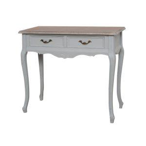 Masa de toaleta / Consola cu 2 sertare din lemn de plop si MDF Catania Grey CAT016, l90xA40xH80 cm