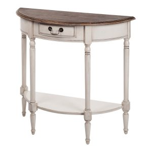 Masa de toaleta / Consola cu sertar si raft din lemn de cauciuc si furnir, Limena Ivory LI834, l83xA36xH77 cm