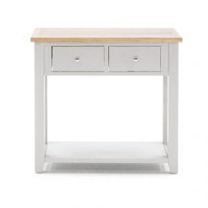 Masuta living / Consola din lemn de pin si MDF, cu 2 sertare Ferndale Grey / Oak, l89xA35xH80 cm