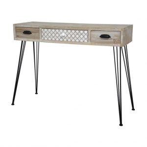 Masa de toaleta / Consola din lemn de plop si MDF cu 3 sertare Loano LO013, l105xA36xH80 cm