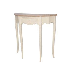 Masa de toaleta / Consola din lemn de plop si MDF cu 1 sertar Rimini Cream RI033, l80xA30xH80 cm