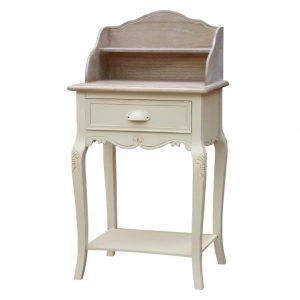 Masa de toaleta / Consola din lemn de plop si MDF cu 1 sertar Rimini Cream RI115, l49xA36xH94 cm