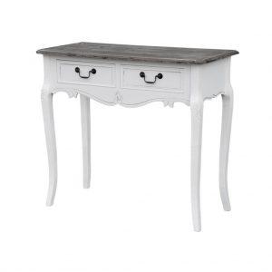 Masa de toaleta / Consola din lemn de plop si MDF cu 2 sertare Rimini White RI016W, l90xA40xH78 cm