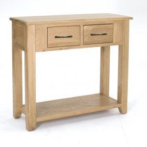 Masuta living / Consola din lemn de stejar si furnir, cu 2 sertare Ramore Oak, l89xA35xH80 cm
