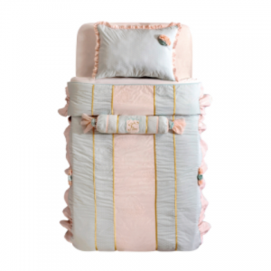 Set cuvertura pat copii si 1 perna decorativa Paradise Turquoise / Pink