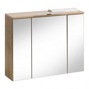 Dulap baie suspendat cu 3 usi si oglinda, Remik Riviera Oak, l80xA20xH68 cm