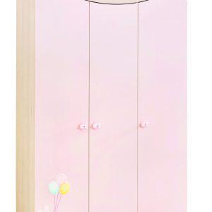 Dulap din pal cu 3 usi, pentru bebe Baby Girl Light Pink / Nature, l133xA55xH201 cm
