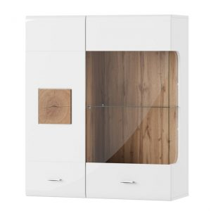 Dulap suspendat cu vitrina Wood 30, l89xA35xH104 cm
