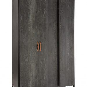 Dulap din pal si metal cu 3 usi, pentru tineret Dark Metal Black / Graphite, l132xA62xH210 cm
