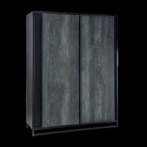 Dulap din pal cu 2 usi glisante, pentru tineret Dark Metal Black / Graphite, l162xA58xH210 cm