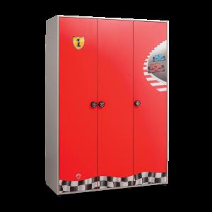 Dulap din pal cu 3 usi, pentru copii Race Cup Red / Light Blue, l136xA55xH198 cm