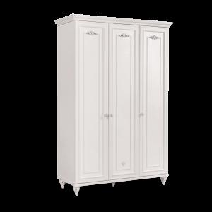 Dulap din pal cu 3 usi pentru copii si tineret Romantica White, l131xA56xH200 cm