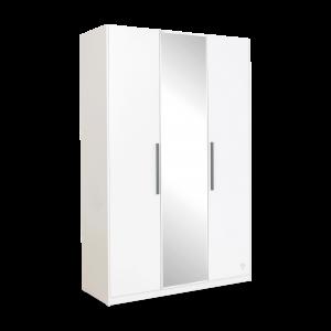 Dulap din pal cu 3 usi si oglinda, pentru tineret White, l135xA54xH209 cm