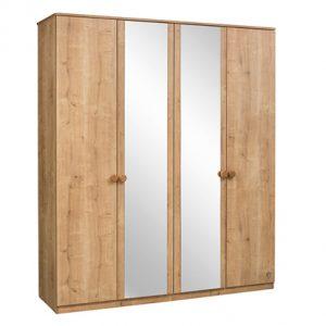 Dulap din pal cu 4 usi si oglinda, pentru tineret Mocha Nature, l183xA56xH210 cm