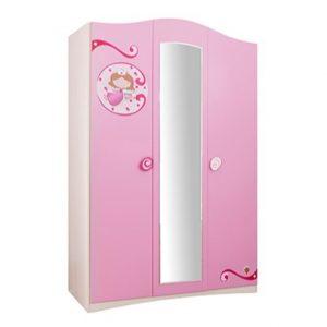 Dulap din pal cu 3 usi si oglinda, pentru copii Little Princess Pink / Nature, l133xA54xH203 cm