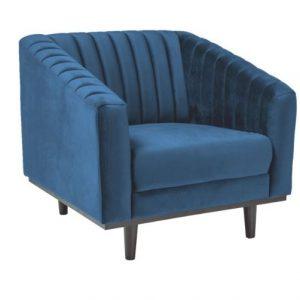Fotoliu fix tapitat cu stofa, Asprey 1 Velvet Blue, l83xA60xH78 cm