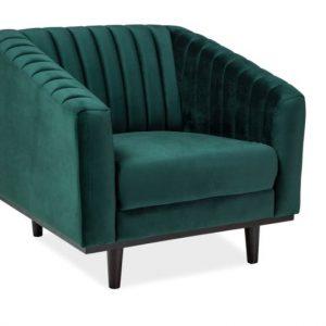 Fotoliu fix tapitat cu stofa, Asprey 1 Velvet Green, l83xA60xH78 cm