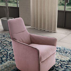 Fotoliu fix tapitat cu stofa Bangkok Pink, l70xA80xH96 cm
