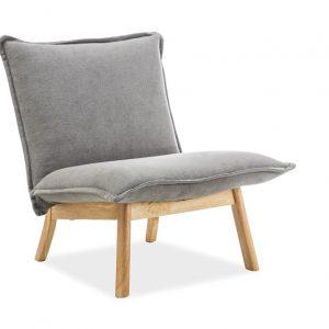 Fotoliu fix tapitat cu stofa, cu picioare de lemn Bollo 1 Grey, l68xA51xH77 cm