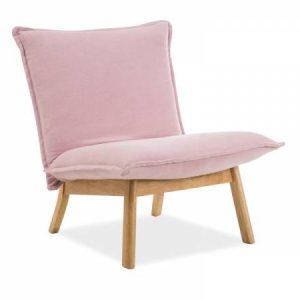 Fotoliu fix tapitat cu stofa, cu picioare de lemn Bollo 1 Pink, l68xA51xH77 cm