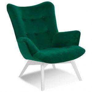 Fotoliu fix tapitat cu stofa, cu picioare din lemn Angel Green / White, l79xA91xH93 cm