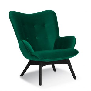 Fotoliu fix tapitat cu stofa, cu picioare din lemn Cherub Green / Black, l79xA91xH93 cm