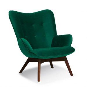 Fotoliu fix tapitat cu stofa, cu picioare din lemn Cherub Green / Walnut, l79xA91xH93 cm