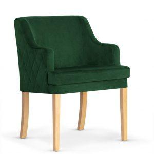 Fotoliu fix tapitat cu stofa, cu picioare din lemn Grand Green / Oak, l58xA60xH89 cm