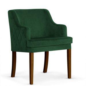 Fotoliu fix tapitat cu stofa, cu picioare din lemn Grand Green / Walnut, l58xA60xH89 cm