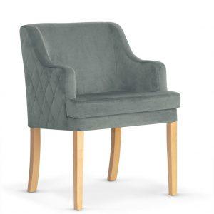 Fotoliu fix tapitat cu stofa, cu picioare din lemn Grand Grey / Oak, l58xA60xH89 cm